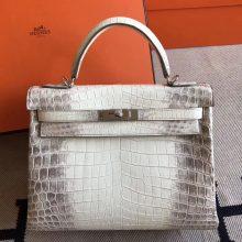 Luxury Hermes Himalaya Color Crocodile Leather Kelly32cm Bag