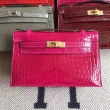 Elegant Hermes Hot Pink Shiny Crocodile Leather Minikelly Pochette Bag22CM