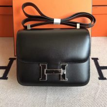 Discount Hermes Black Box Calfskin Constance24cm Bag Enamel Buckle