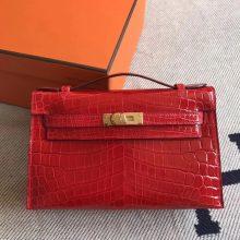 Pretty Hermes CK95 Braise Shiny Crocodile Minikelly Pochette Clutch Bag 22CM