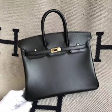 Wholesale Hermes CK89 Black Box Calfskin Birkin Bag25cm Gold Hardware