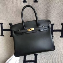 Discount Hermes Box Calfskin Birkin30cm Bag in CK89 Black Gold Hardware