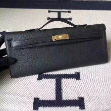 Sale Hermes CK89 Black Epsom Calfskin Kelly Cut Clutch Bag31cm Gold Hardware