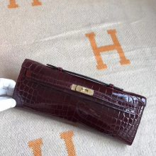 Luxury Hermes CK57 Bordeaux Shiny Crocodile Kelly Cut Bag31CM Gold Hardware