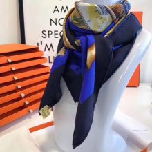Wholesale Hermes Royal Blue Silk Scarf Women's Neckerchief 90*90cm