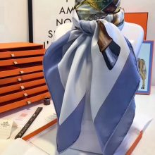 Fashion Hermes Grade-A Women's Silk Scarf Neckerchief in Light Blue90*90cm