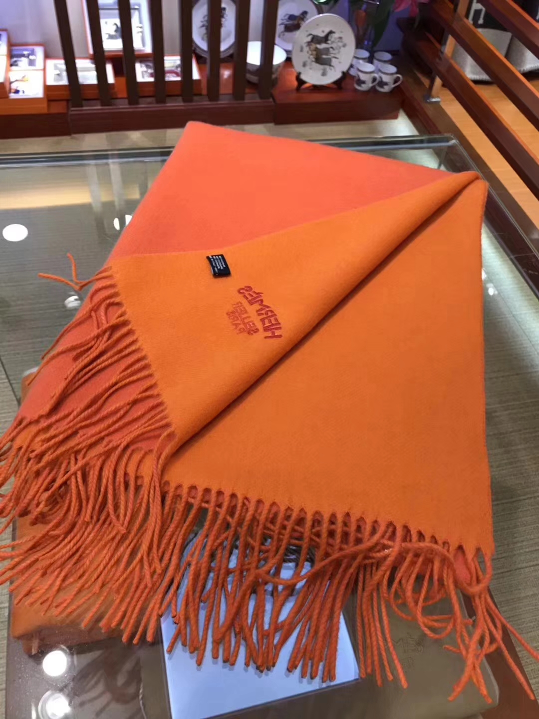 Discount Hermes 100 Cashmere Womens Scarf in Orange