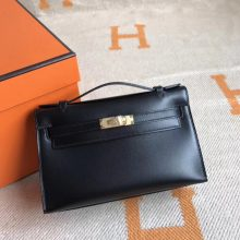 Elegant Hermes Box Calfskin Minikelly Pochette Cluth Bag22CM Gold Hardware