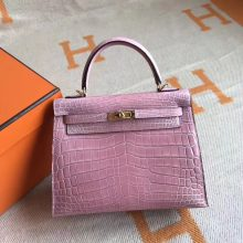 Fashion Hermes 5Z Rose Indienne Crocodile Shiny Kelly Tote Bag25CM