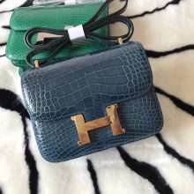 Elegant Hermes Shiny Crocodile Leather Constance18CM Shoulder Bag in 1P Duck Blue