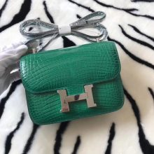 Fashion Hermes 6Q Emerald Green Alligator Shiny Crocodile Constance18CM Bag