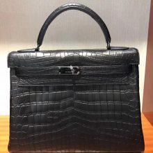 Discount Hermes Black Crocodile Matt Leather Kelly Bag32CM Black Hardware