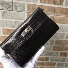 Luxury Hermes CK89 Black Alligator Shiny Crocodile Kelly Wallet Clutch Bag