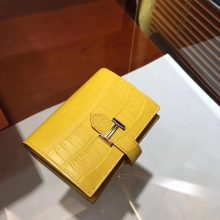 Pretty Hermes Yellow Crocodile Matt Leather H Buckle Bearn Wallet Purse