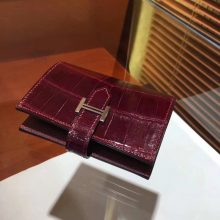 Luxury Hermes Crocodile Shiny Leather Bearn Wallet Purse in Wine Red