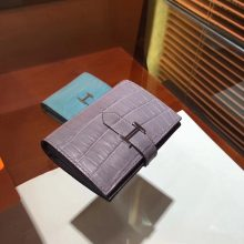 Elegant Hermes Short Bearn Wallet in Grey Crocodile Matt Leather
