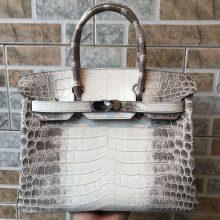 Discount Hermes HimalayaCrocodileLeather Birkin30CM Tote Bag Silver Hardware