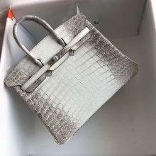 Noble Hermes Himalaya CrocodileLeather Birkin25CM Bag Silver Hardware