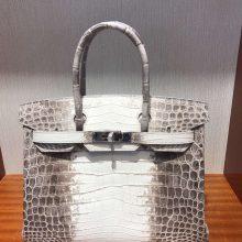 Hand Stitching Hermes Birkin Bag 30CM in Himalaya CrocodileLeather
