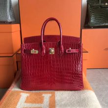 Discount Hermes Q5 Rouge Casaque Shiny CrocodileLeather Birkin25CM Bag