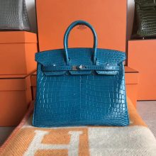 On Sale Hermes Shiny CrocodileBirkin Bag25CM in 7W Blue Izmir