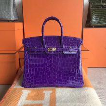 New Arrival Hermes 5L Ultraviolet Shiny CrocodileLeather Birkin25CM Bag