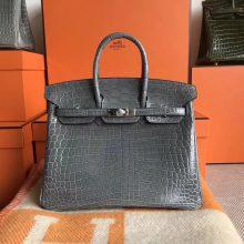 Discount Hermes Shiny CrocodileLeather Birkin25CM Bag in Mousse Grey