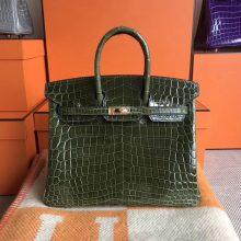 Luxury Hermes 6H Olive Green Shiny CrocodileLeather Birkin25CM Tote Bag
