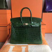 Sale Hermes Birkin Bag25CM in CK67 Vert Fonce Shiny CrocodileLeather Gold Hardware
