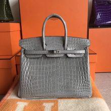 Fashion Hermes 8M Gris Paris CrocodileShiny Leather Birkin Bag25CM Silver Hardware