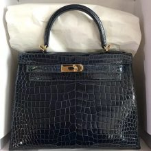 Noble Hermes Shiny Crocodile Leather Kelly28CM Bag in 1P Colvert Gold Hardware