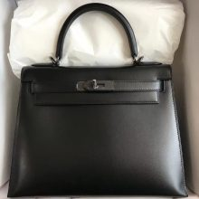 Elegant Hermes CK89 Black Box Calf Kelly Bag28CM Black Hardware