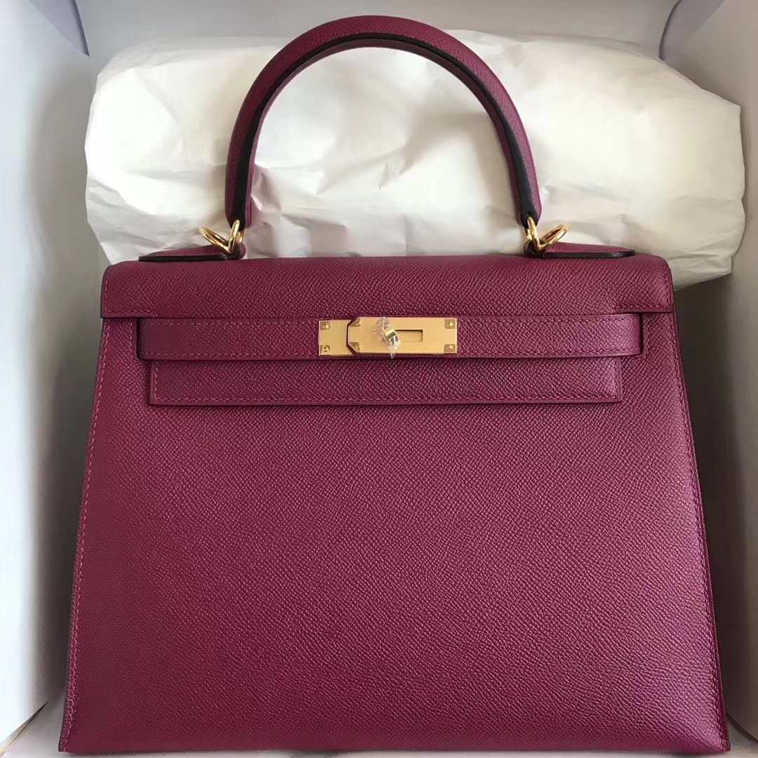 c6cc7196ff7 Brand: Hermes; Style: Sellier Kelly Bag; Material: Epsom Calf Leather;  Color:K5 Tosca Purple;Size:28cm; Hardware: Gold; Accessories: Padlock and  Keys, ...