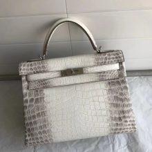 Noble Hermes Himalaya CrocodileMatt Leather Kelly32CM Tote Bag
