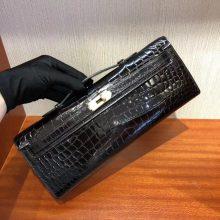 Noble Hermes CK89 Black Shiny Crocodile Kelly Cut Clutch Evening Bag