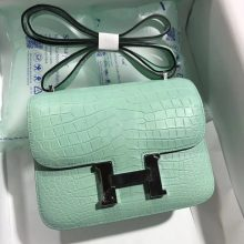 Sale Hermes 6U Mint Green Matt Crocodile Leather Constance Bag19CM