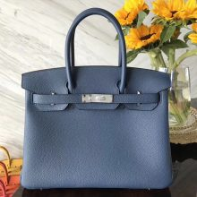 Fashion Hermes Dark Blue Togo Calf Leather Birkin30CM Bag Silver Hardware