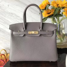 Fashion Hermes Togo Calf Leather Birkin Bag30CM in 8F Etain Grey Gold Hardware