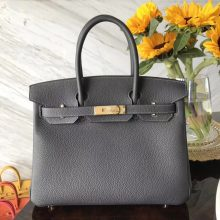 Luxury Hermes CK88 Graphite Grey Togo Calf Birkin30CM Bag Gold Hardware