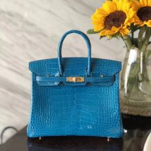 Noble Hermes 7W Blue Izmir Alligator Shiny Crocodile Birkin25CM Bag Gold Hardware