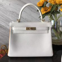 Discount Hermes Pure White & Sun Yellow Rim Epsom Calfskin Kelly28CM Bag