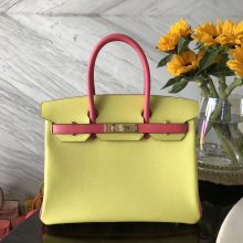 Fashion Hermes 9R Lemon Yellow/8W Rose Azalee Epsom Calf Birkin30CM Bag