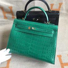 Noble Hermes 6QEmerald Green Shiny Crocodile Leather Kelly32cm Bag