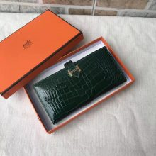 Hermes CK67 Vert Fonce Crocodile Shiny Leather H Buckle Long Wallet Purse