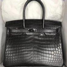 Elegant Hermes CK89 Black Crocodile Matt Birkin30CM Bag Black Hardware