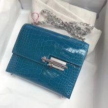Fashion Hermes Shiny Crocodile Leather Verrou17cmBag in 7W Blue Izmir Silver Hardware