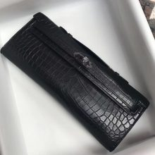 Wholesale Hermes CK89 Black Crocodile Matt Leather Kelly Cut31CM Clutch Bag