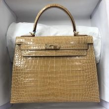 Sale Hermes Shiny Crocodile Leather Kelly Bag28CM in Apricot Gold Hardware