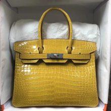 Fashion Hermes 9D Amber Yellow Shiny CrocodileLeather Birkin30CM Bag Silver Hardware