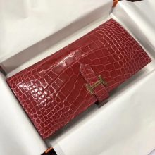 Elegant Hermes A5 Bougainvillier Red Shiny Crocodile Leather Bean Long Wallet